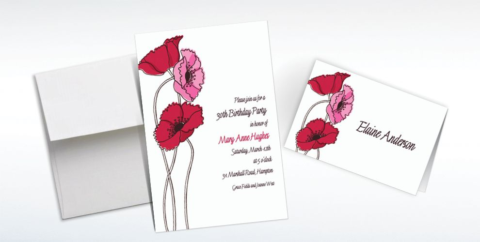 Custom Pretty Poppy Stems Invitations and Thank You Notes