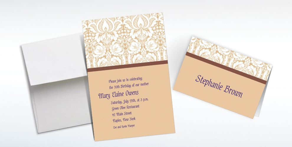 Custom Beige Damask Invitations and Thank You Notes