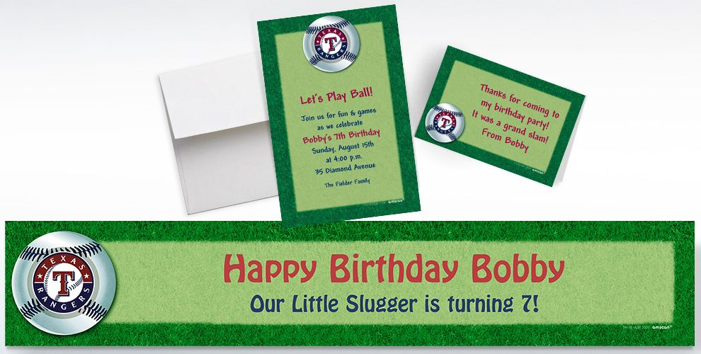 Custom Texas Rangers Invitations and Thank You Notes