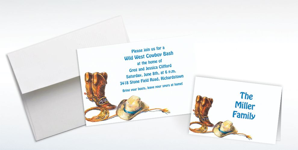 Custom Cowboy Boots, Hat and Lasso Western Invitations and Thank You Notes