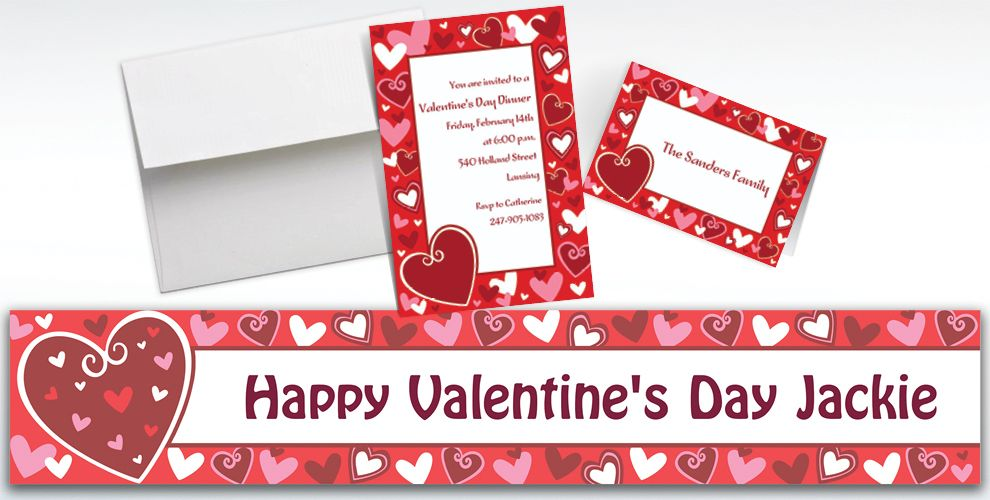 Custom Be Mine Valentine's Day Invitations and Thank You Notes