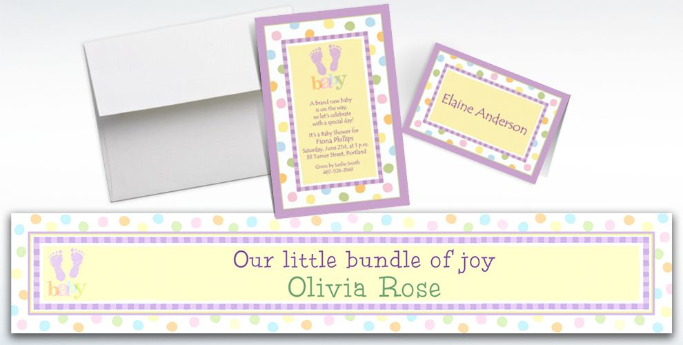 Custom Baby Steps Baby Shower Invitations and Thank You Notes