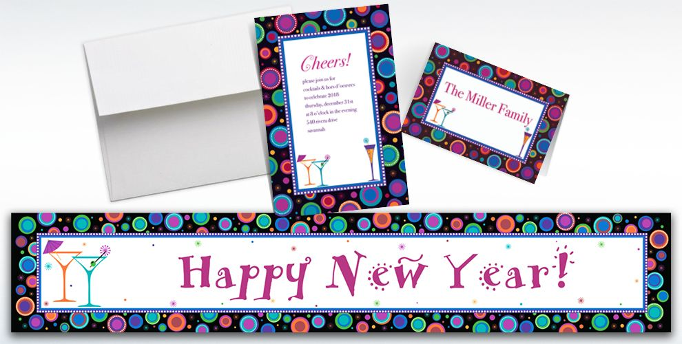 Custom Modern New Year's Invitations and Thank You Notes