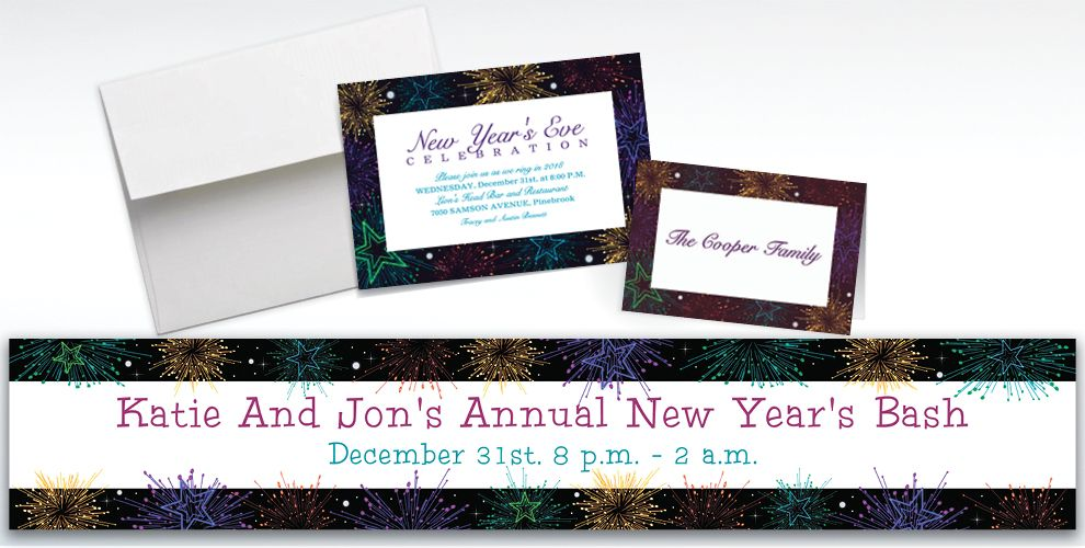 Custom Midnight Marquee New Year's Invitations and Thank You Notes