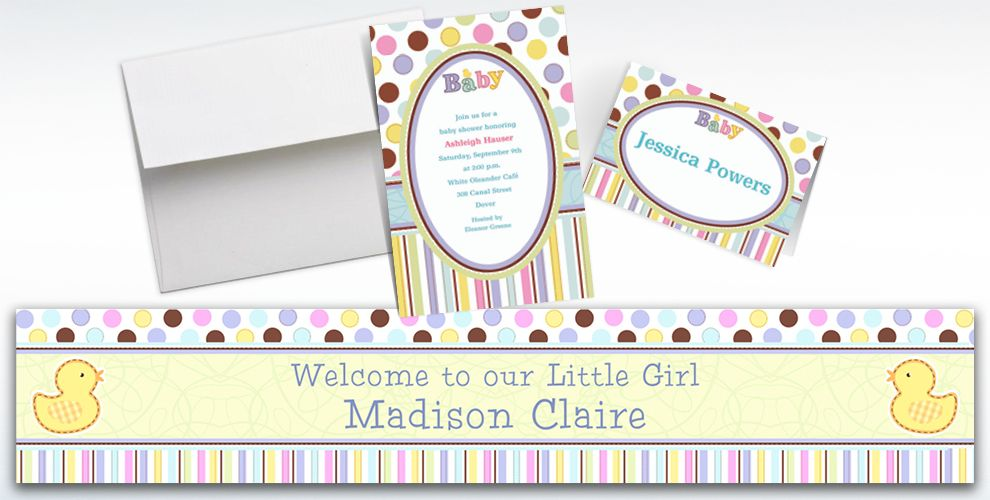 Custom Tiny Bundle Baby Shower Invitations and Thank You Notes