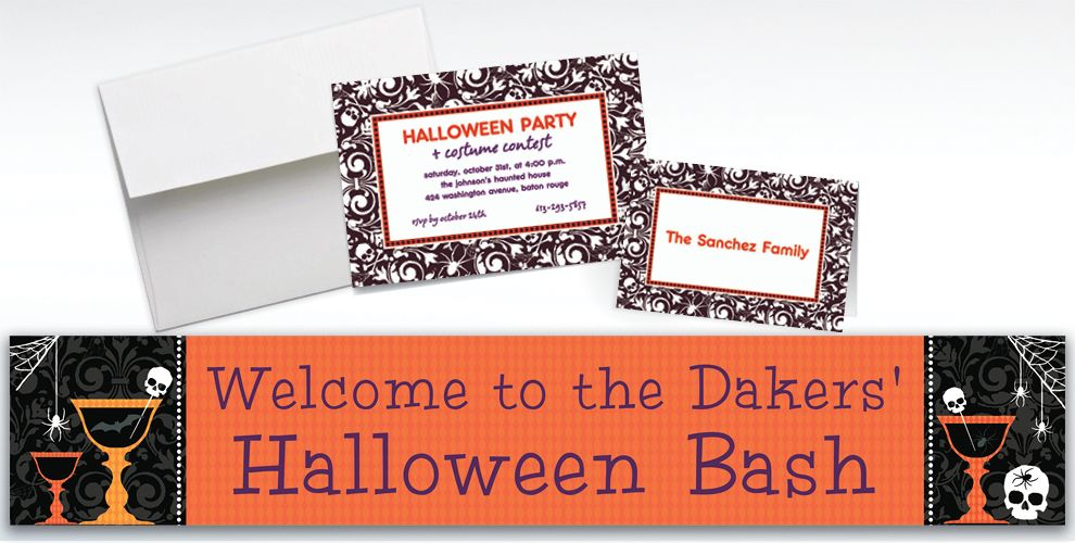 Custom Shocktails Halloween Invitations and Thank You Notes