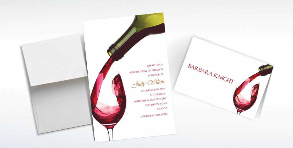 Custom Pour Me a Glass Invitations and Thank You Notes
