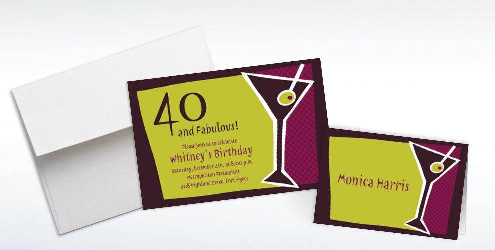 Custom Shaken Martini Invitations and Thank You Notes