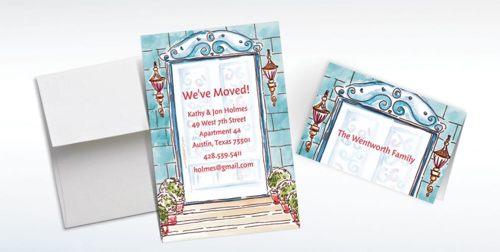 Custom Home Front Door Moving Announcements and Thank You Notes