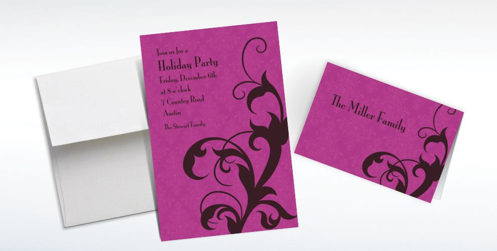 Custom Holiday Filigree Purple Invitations and Thank You Notes