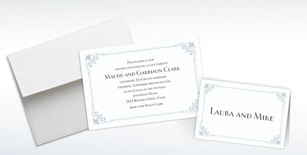 Custom Flourish Corners Silver Invitations and Thank You Notes