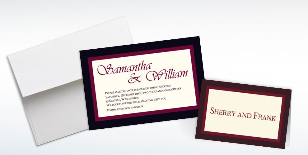 Custom Austere Border Burgundy Invitations and Thank You Notes
