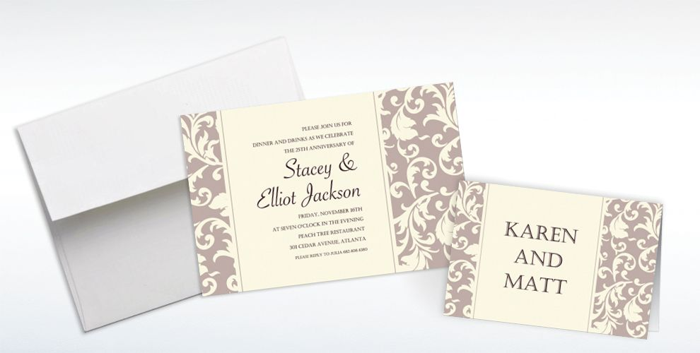 Custom Damask Stripe Taupe Invitations and Thank You Notes
