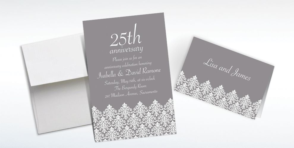 Custom Unbridled Filigree Gray Invitations and Thank You Notes