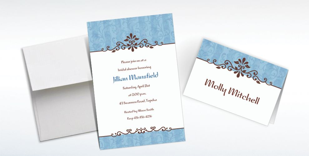 Custom Ornamental Lines Periwinkle Invitations and Thank You Notes