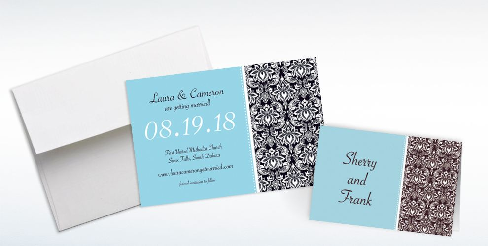 Custom Decorative Damask Teal Invitations and Thank You Notes