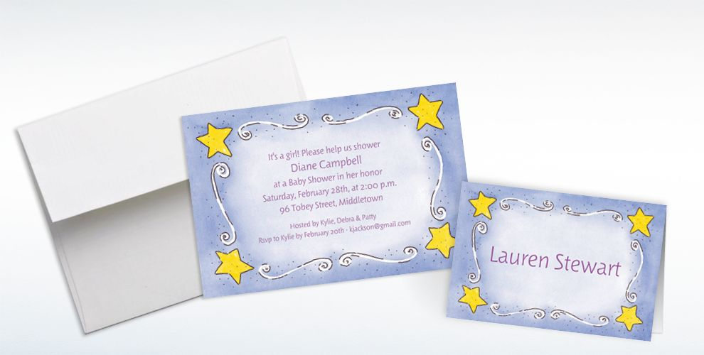 Custom Sweet Stars and Swirls Baby Shower Invitations and Thank You Notes