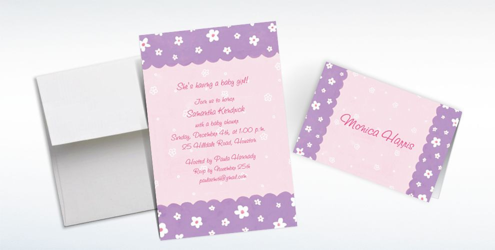 Custom Dainty Flowers and Scallop Baby Shower Invitations and Thank You Notes