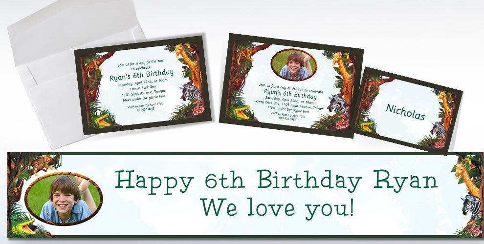Custom Jungle Animals Invitations and Thank You Notes