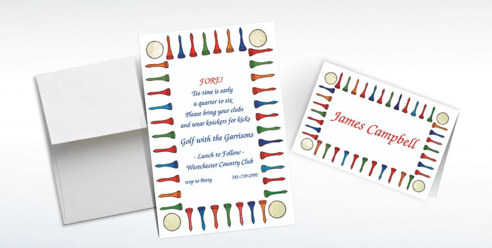 Custom Golf Tee Border Invitations and Thank You Notes