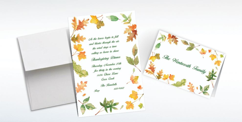 Custom Autumn Leaves Border Invitations and Thank You Notes