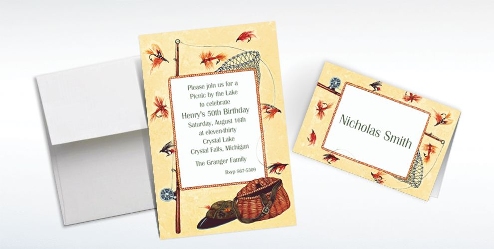 Custom Fly-Fishing Gear Invitations and Thank You Notes