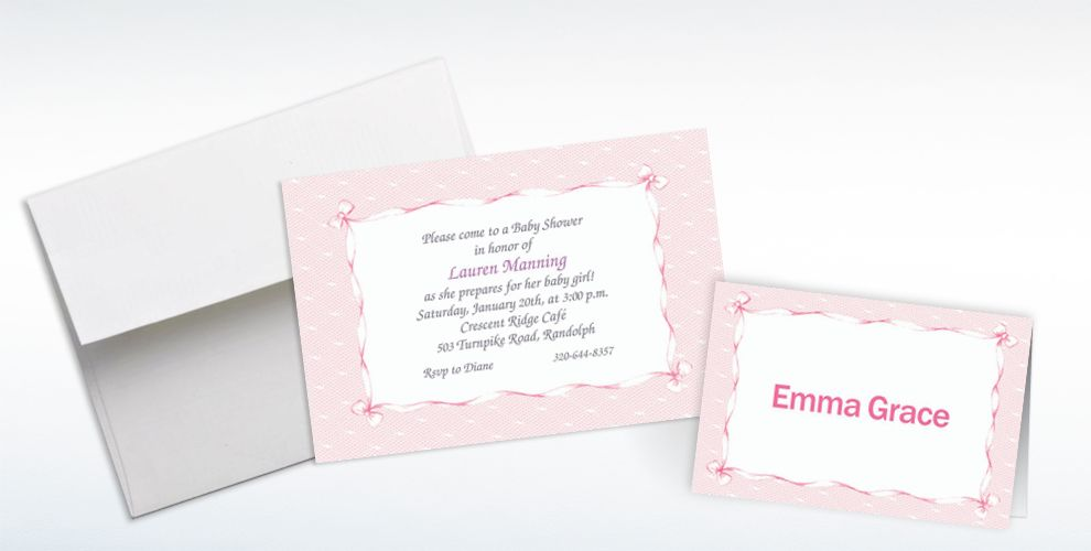 Custom Pink Lace and Bows Baby Shower Invitations and Thank You Notes