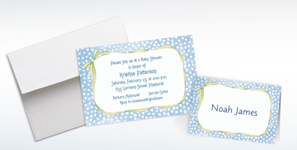 Custom Blue Polka Dots with Bow Baby Shower Invitations and Thank You Notes