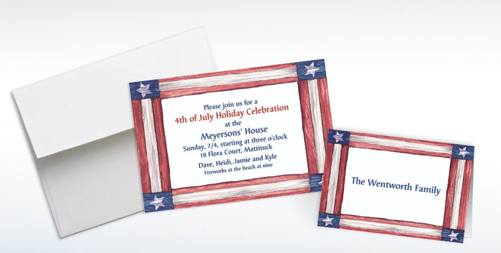 Custom Americana Flag Invitations and Thank You Notes