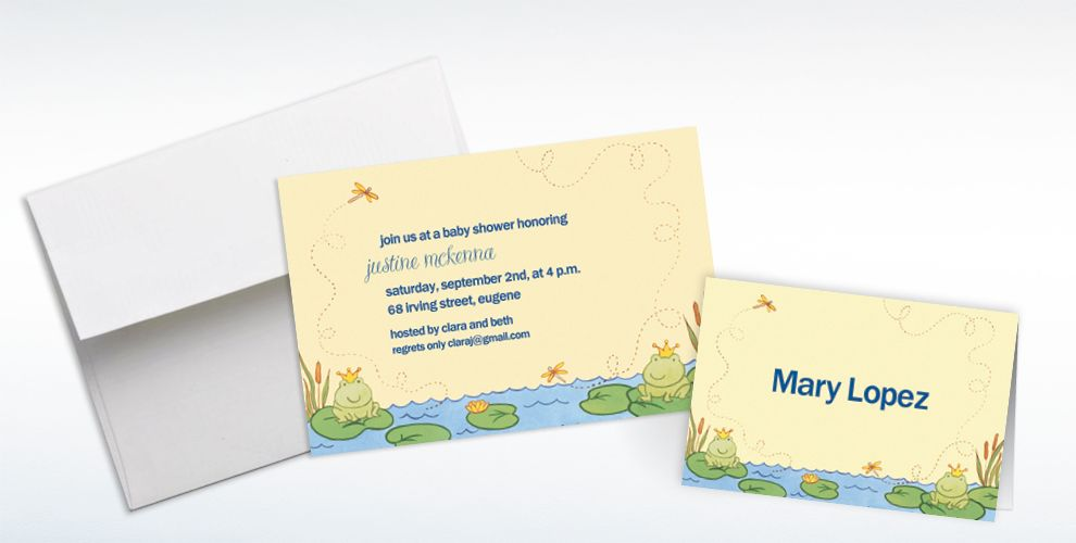 Custom Happy Frogs Baby Shower Invitations and Thank You Notes