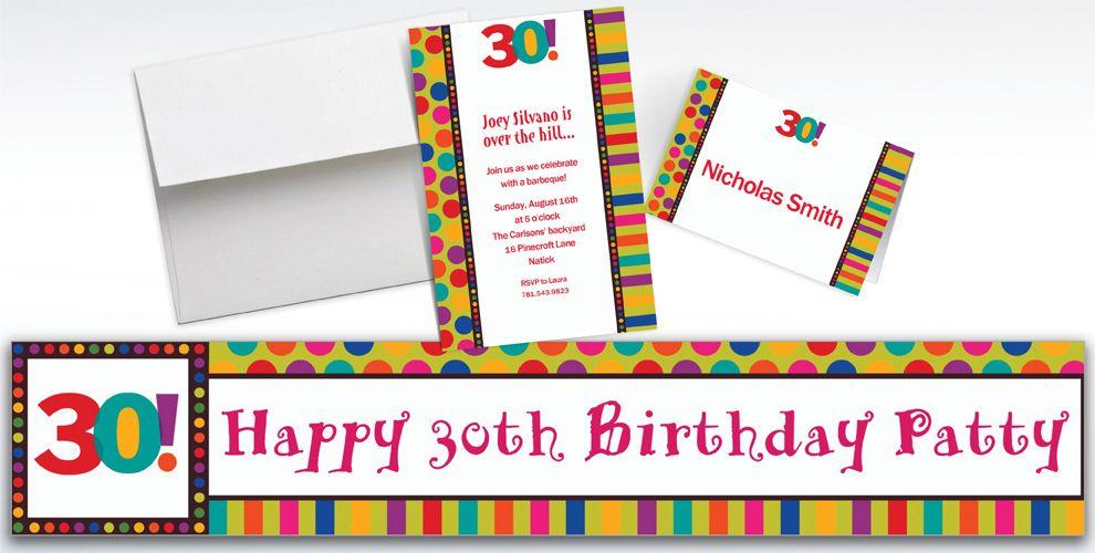 Custom Birthday Dots and Stripes 30th Birthday Invitations