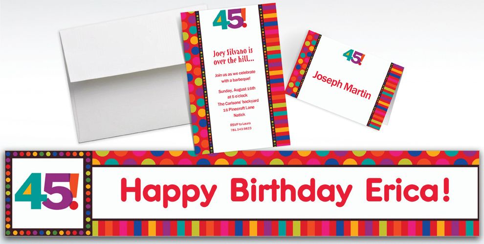Custom Birthday Dots and Stripes 45th Invitations