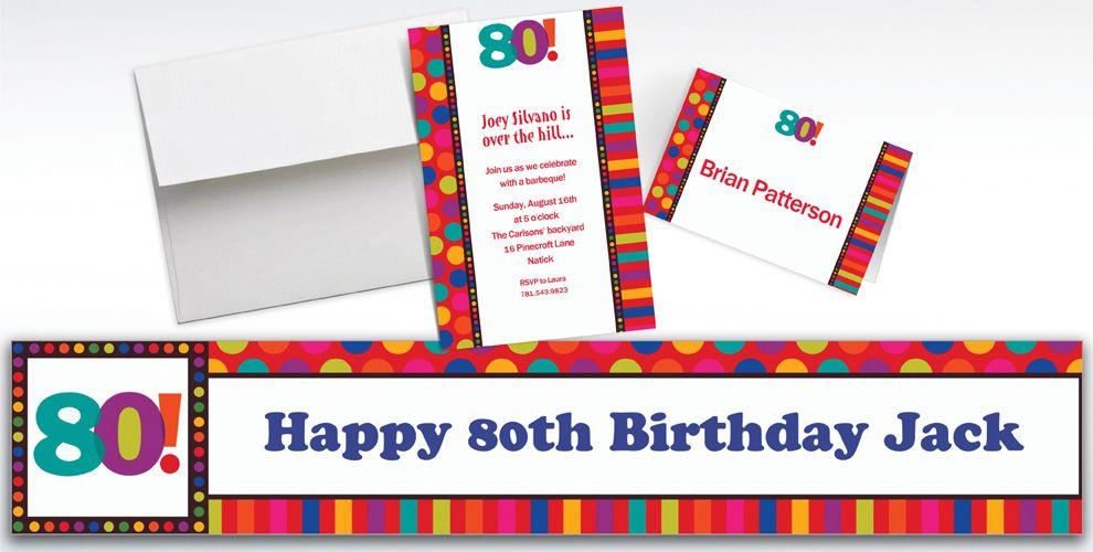 Custom Birthday Dots and Stripes 80th Invitations