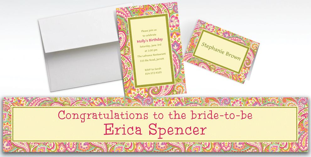 Custom Pretty Paisley Invitations and Thank You Notes