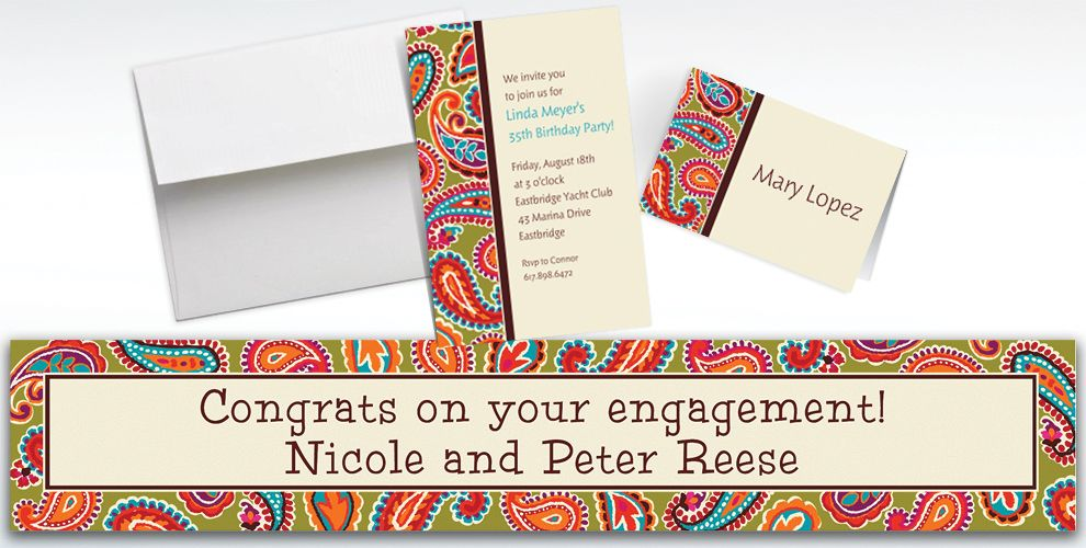 Custom Paisley Brights Invitations and Thank You Notes