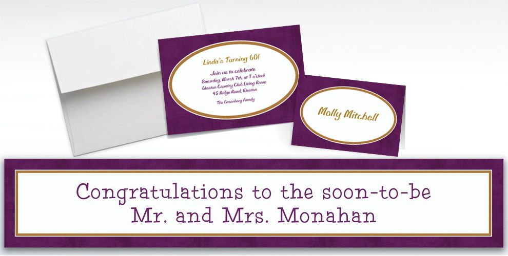 Custom Plum Border Invitations and Thank You Notes
