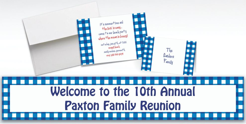 Custom American Summer Blue Gingham Invitations and Thank You Notes