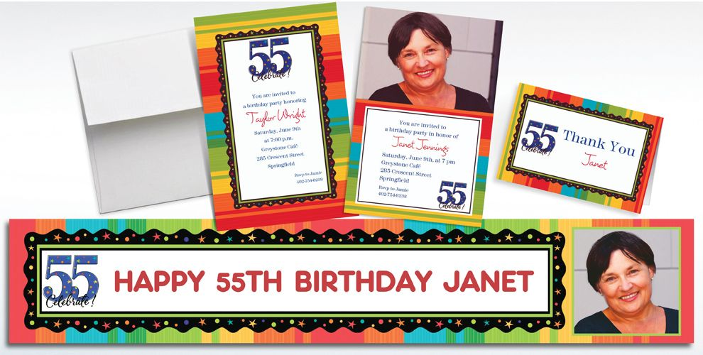 Custom 55th Birthday Invitations and Thank You Notes