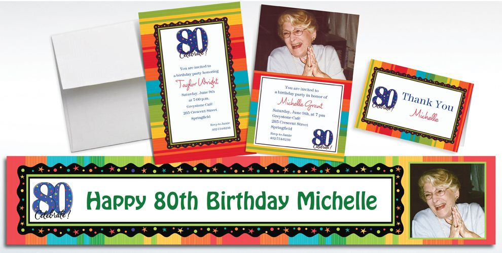 Custom 80th Birthday Invitations and Thank You Notes