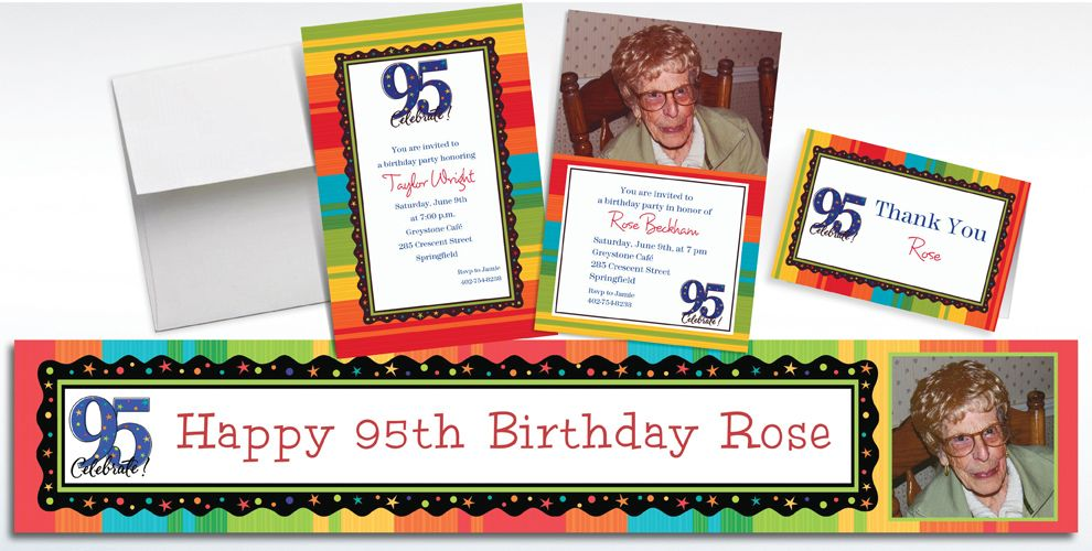 Custom 95th Birthday Invitations and Thank You Notes