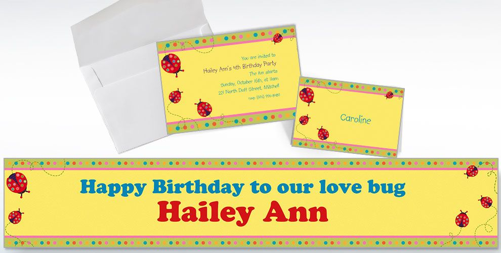 Custom Lady Bug Invitations and Thank You Notes