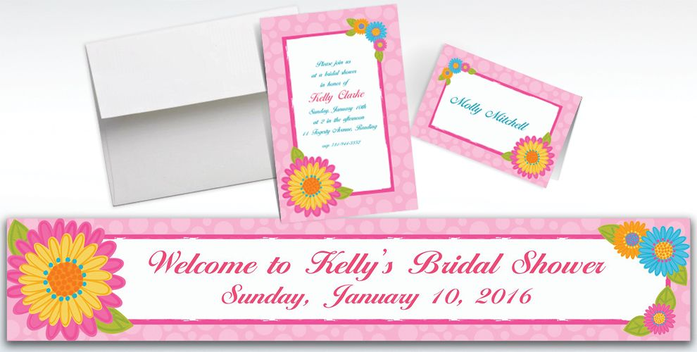 Custom Splashy Flower Invitations and Thank You Notes