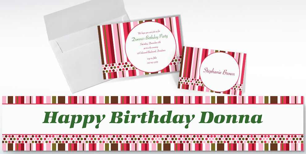 Custom Party Stripe Invitations and Thank You Notes