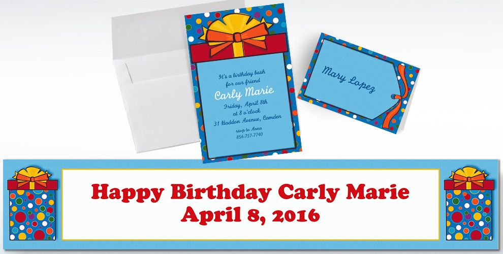Custom Polka Dot Present Invitations and Thank You Notes