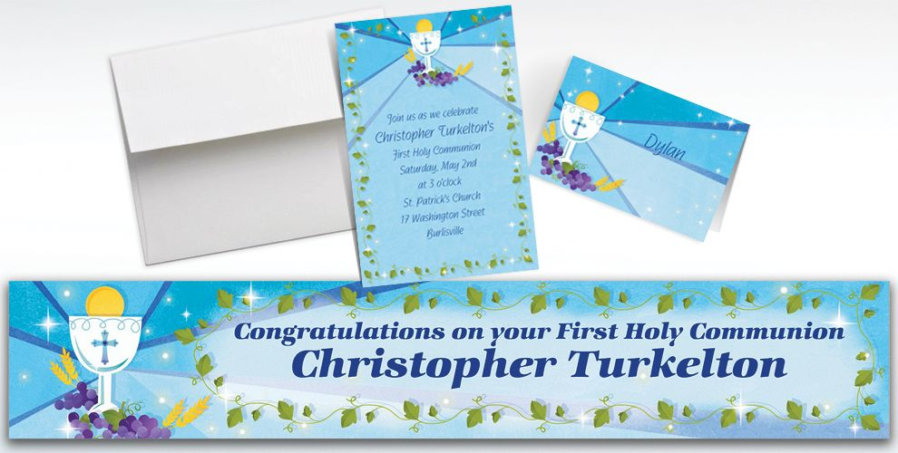 Custom Blue First Communion Invitations and Thank You Notes