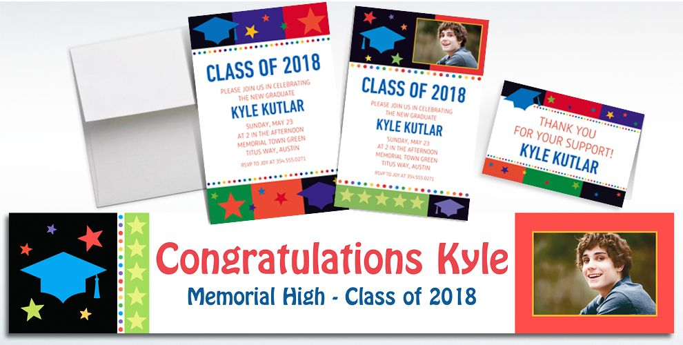 Custom Bright Grad Invitations and Thank You Notes