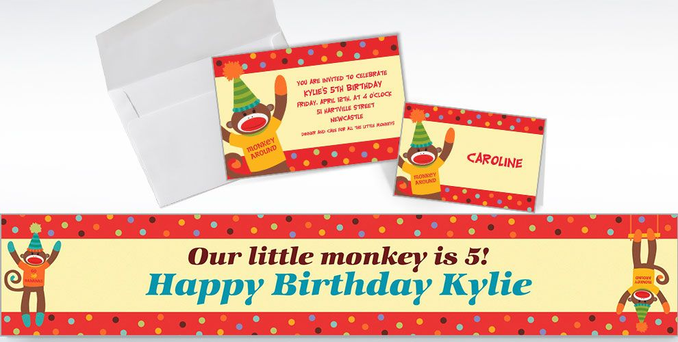 Custom Monkey Party Invitations and Thank You Notes