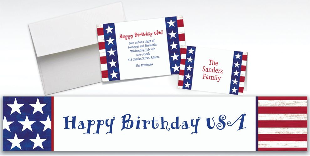Custom Americana Invitations and Thank You Notes