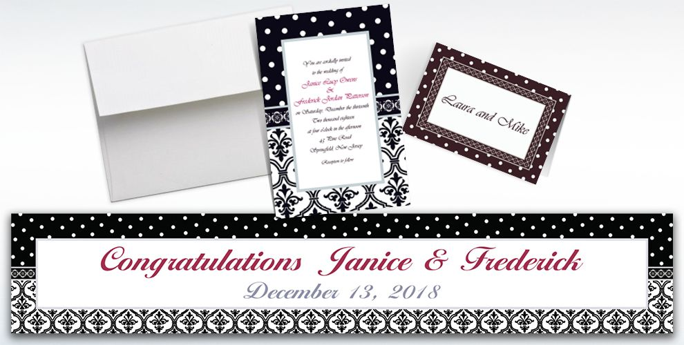 Custom Damask and Polka Dot Wedding Invitations and Thank You Notes