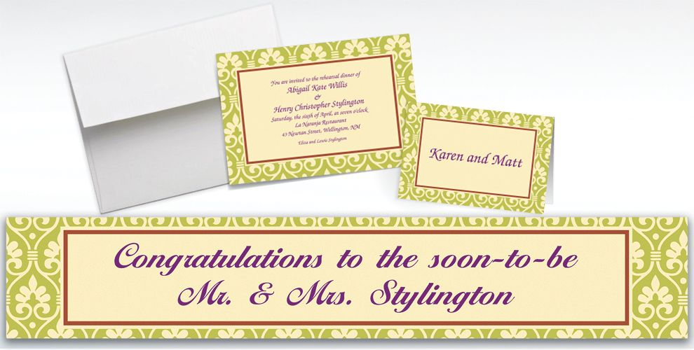 Custom Natural Damask Invitations and Thank You Notes